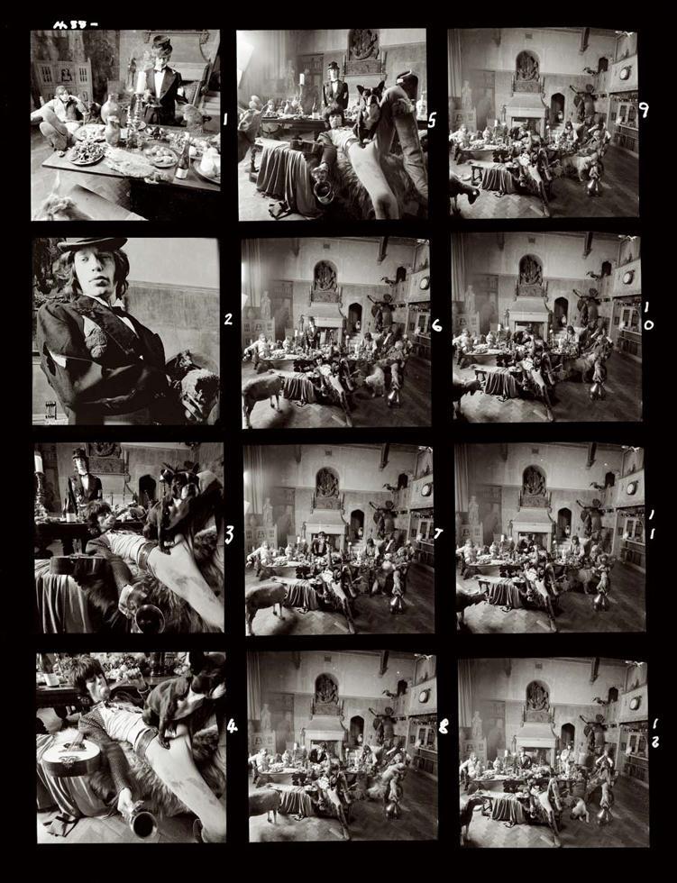 Hoja de contactos de la sesión de fotos de los Rolling Stones con el fotógrafo Michael Joseph, para el disco Beggars Banquet.