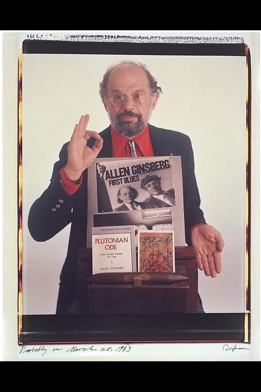 Retrato en color de Allen Ginsberg hecho por la fotógrafa Elsa Dorfman con la Polaroid 20x24