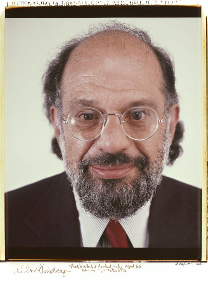 Retrato en color y en primer plano de Allen Ginsberg realizado por Elsa Dorfman con su Polaroid 20x24