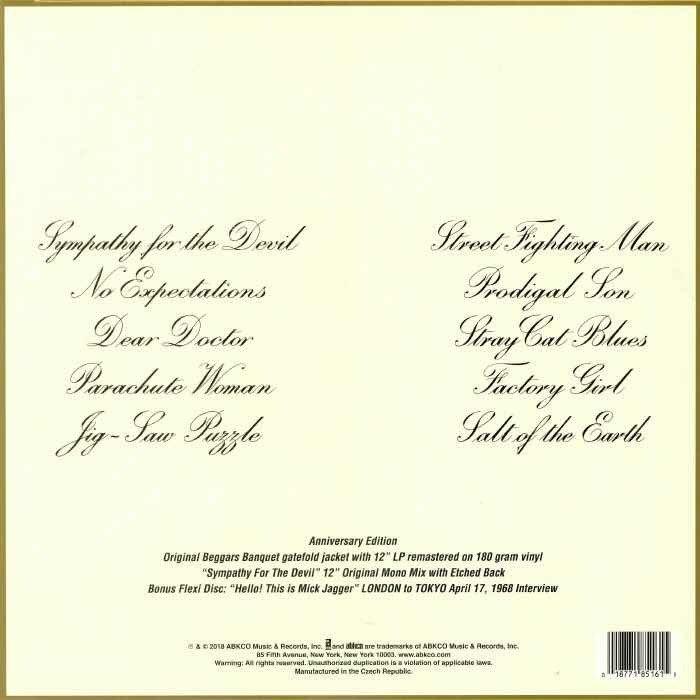 Contraportada de la primera edición del disco Beggars Banquet de los Rolling Stones