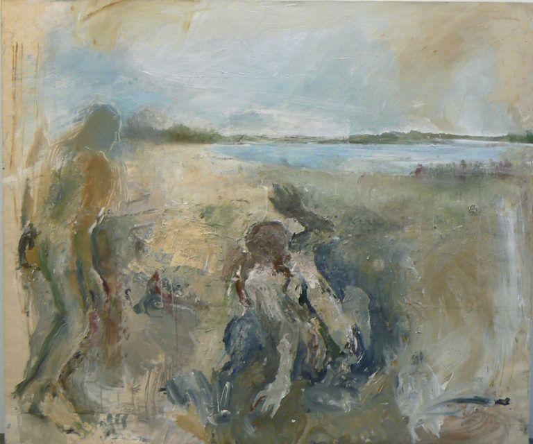 Pintura de la artista June Leaf titulada Astonished, pintada en 1997