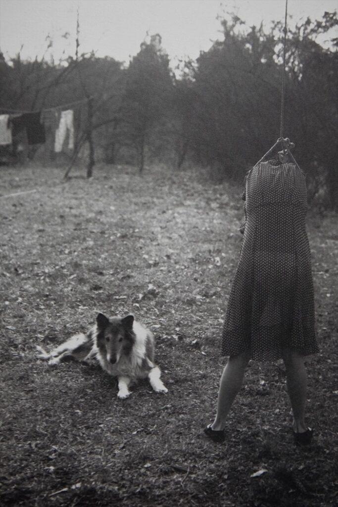 Niña de 12 años de espaldas simulando un ahorcamiento con cuerda en el jardín y con un perro tumbado a su lado. Foto de Sally Mann para el libro At Twelve