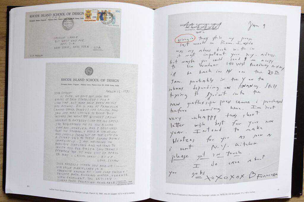 """Imagen de varias cartas escritas por Francesca Woodman en el libro """"Portrait of a reputation"""""""