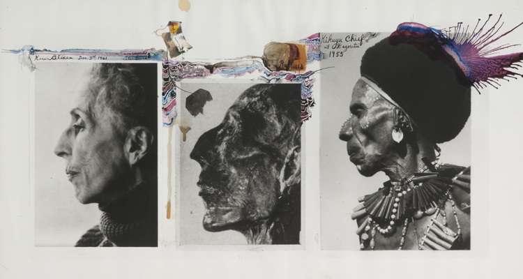 Tríptico de fotos hechas por Peter Beard, una de ellas es de la escritora Karen Blixen, autora de Memorias de África.