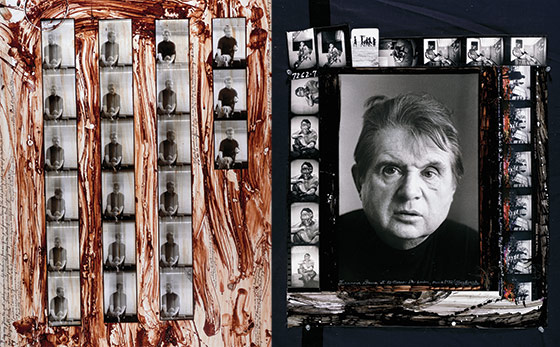Collage de fotos de Francis Bacon tomadas por Peter Beard e intervenidas con sangre